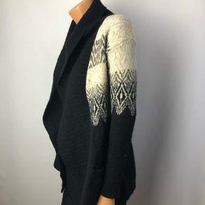 Cynthia Rowley black/cream wool open cardigan Sz S